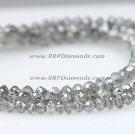 Gray Faceted Drilled Natural Loose Diamond Beads