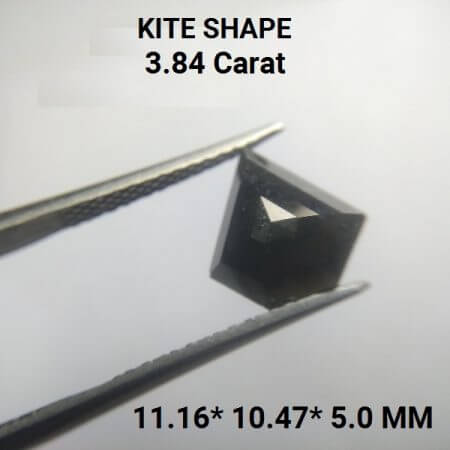 Black Geometric Kite Shape 3.84 Carat Rustic Diamond