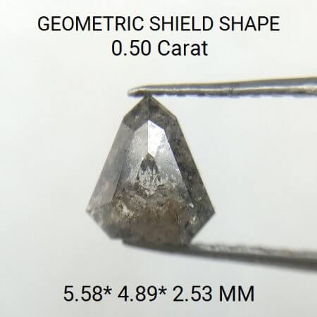 Gray Shield Shape Salt And Pepper 0.50 Carat Rose Cut Diamond