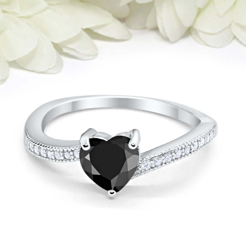 Black cz engagement rings